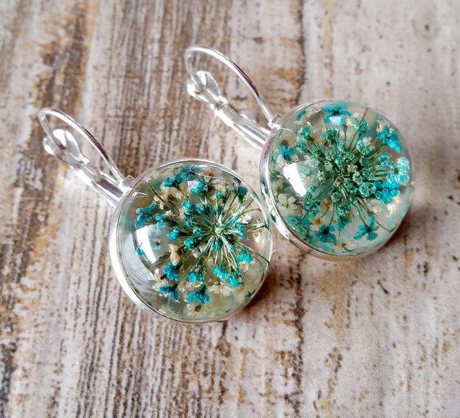 Ohrringe - Ohrringe mit getrocknete echte Blüten - ein Designerstück von Ohr-ringe-und-mehr bei DaWanda