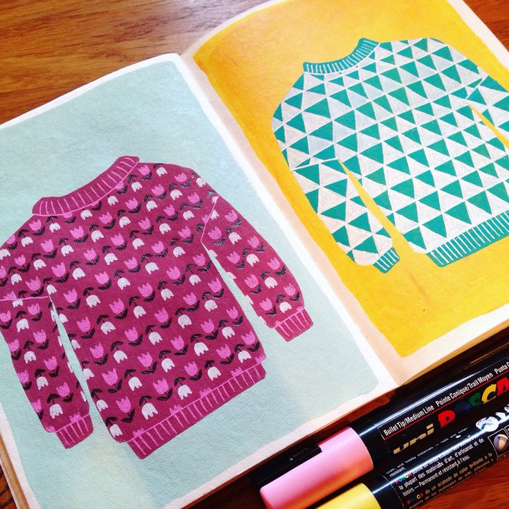 Sketchbook doodles - dream jumpers by Amy Blackwell, 2015. www.amyblackwell.co.uk