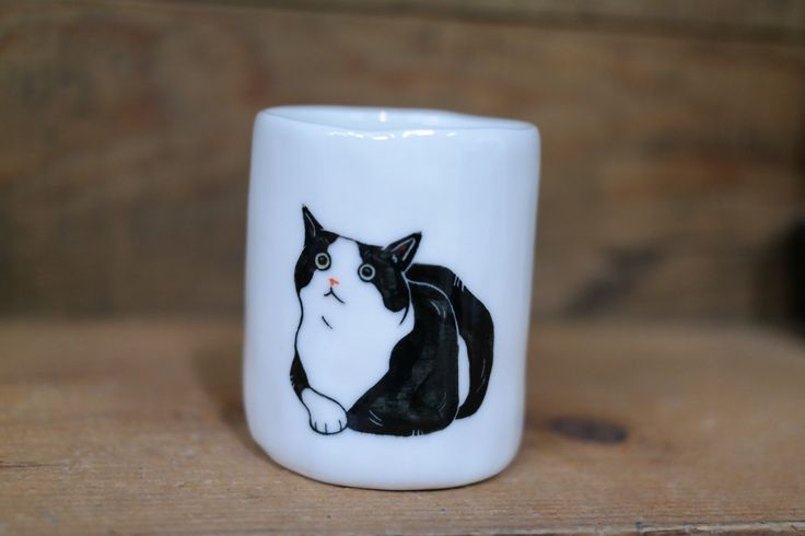Hand painted animal cup - Cute cup -Cat cup- unique cup - Cat small cup by CreativeStoneCera on Etsy