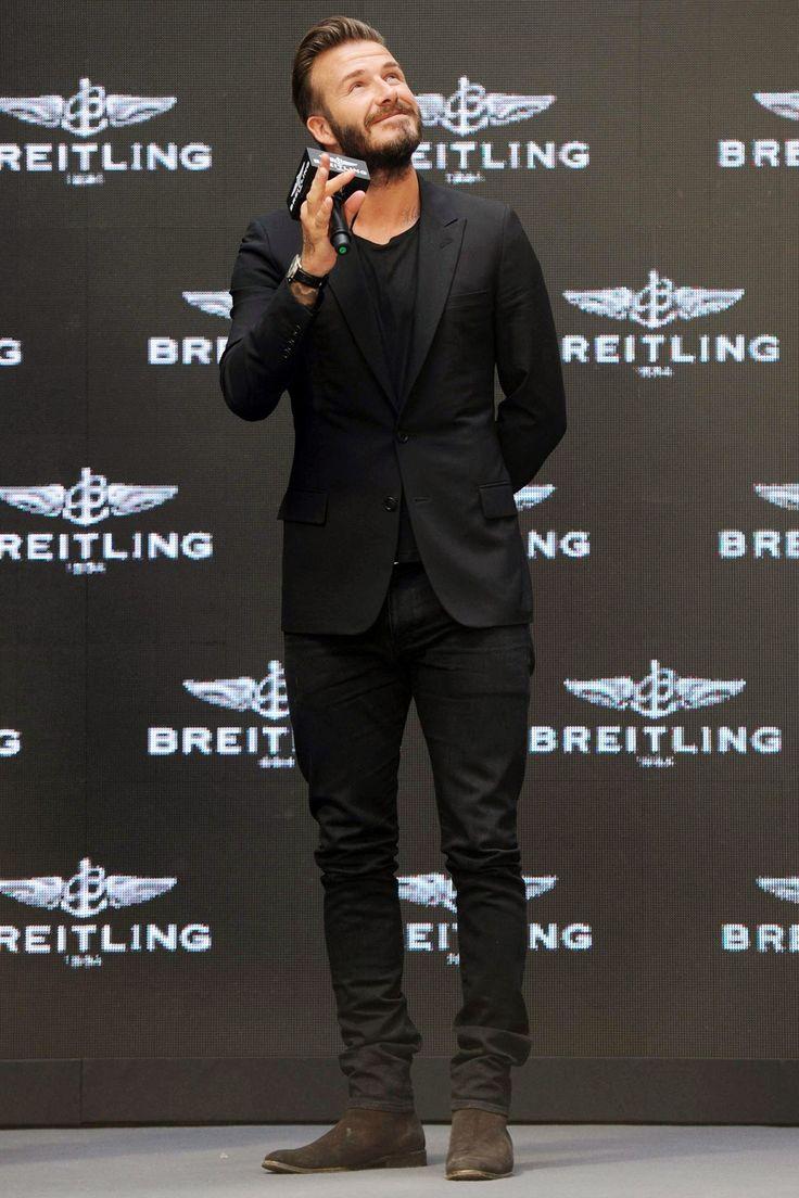 David Beckham, black on black, nobody does it better. | Raddest Men's Fashion Looks On The Internet: http://www.raddestlooks.org