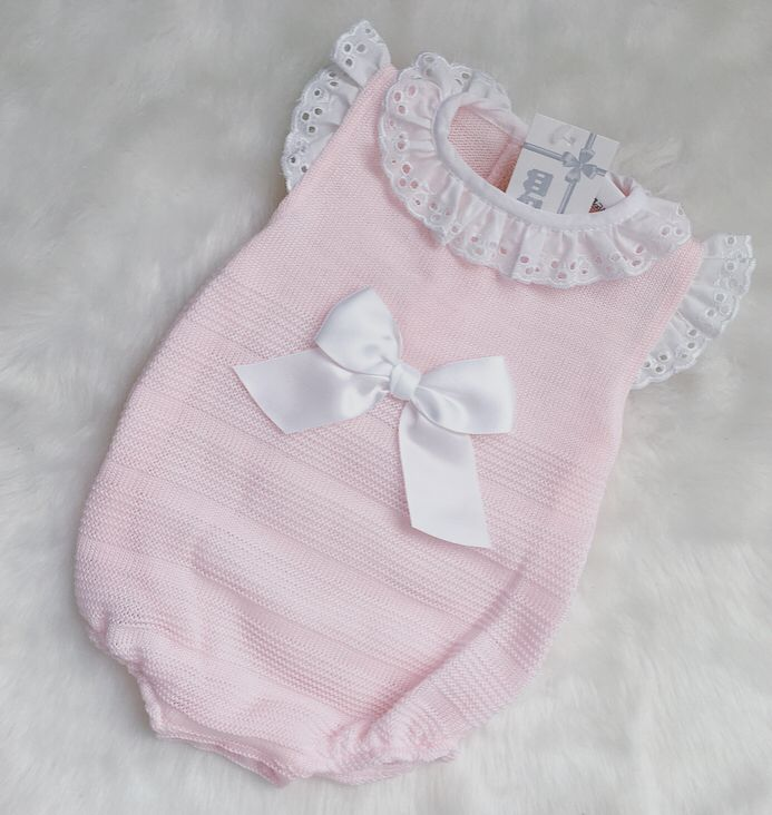 SPANISH STYLE LONG SLEEVE BABY PINK KNITTED ROMPER BOW AND COLLAR GIFT