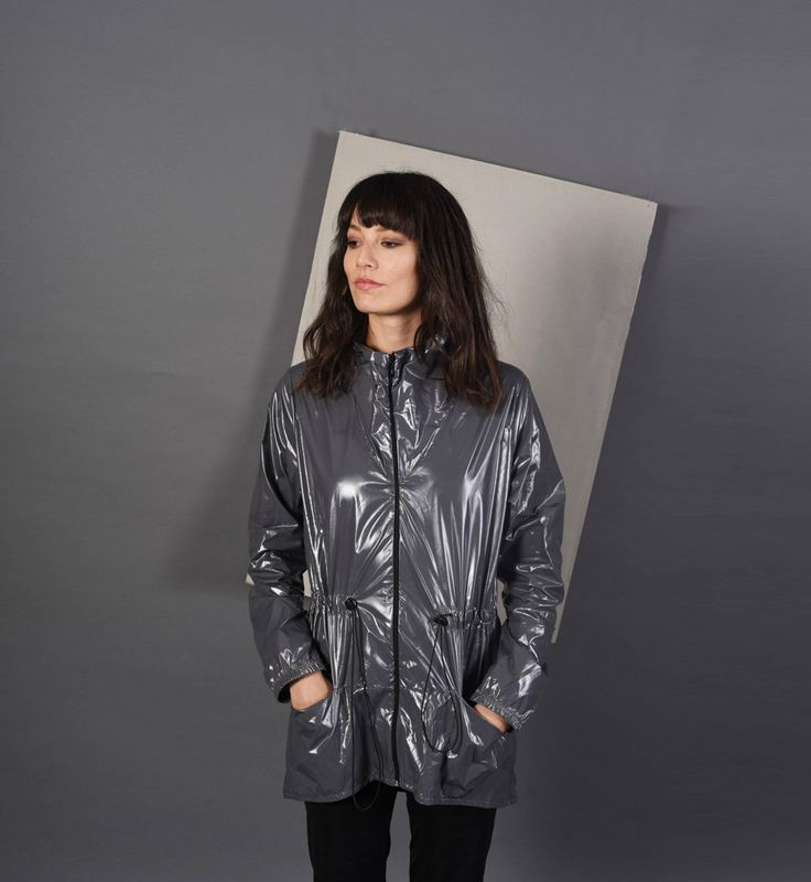 Gray Shiny Adult Raincoat, Windbreaker, Commuter Jacket, Bicycling Coat,  Compact, Water Resistant, We Love Fuss, Folds into a small case by Welovefuss on Etsy