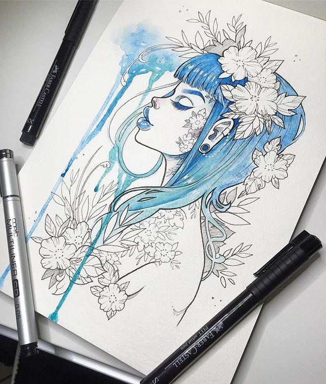 """Blue Rain"" Loving this Opus brand watercolor #sketchbook I'll make some prints of her and ""Secret Garden"" this weekend if I can find some good paper ✨ #graphicartery #watercolor #artshare #artwork #myart #sketch #draw #artsy #arte #art #instaart #artnerd2016 #artist #illustration #tattoos #artistsoninstagram #artcollective #spotlightonartists #instartspics #watercolour"