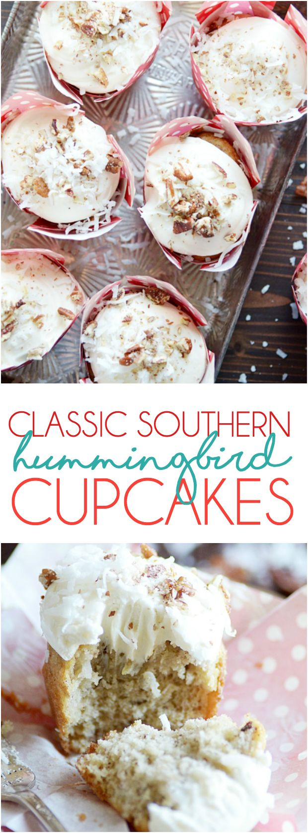 Classic Southern Hummingbird Cupcakes | Something Swanky | This Southern classic is banana bread and cupcake all rolled into one! A super moist banana cupcake with crushed pineapple, coconut, and pecans folded into the batter topped with an irresistibly dreamy cream cheese frosting.
