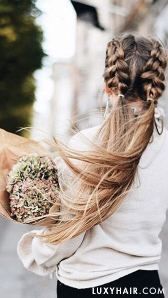 beautiful braided pigtails