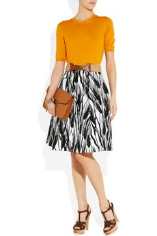 Black and White printed skirt by Moschino Cheap and Chic - with a pop of vibrant tangerine. Love!