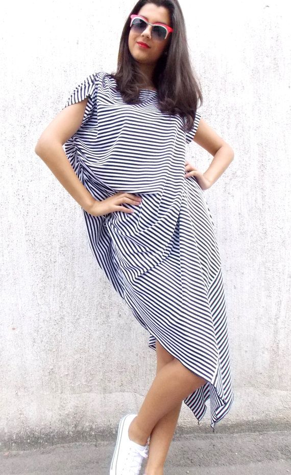 Asymmetrical Black and White Stripes Dress / Loose Maxi Dress/ Plus Size Extravagant Stripes Dress TDK63