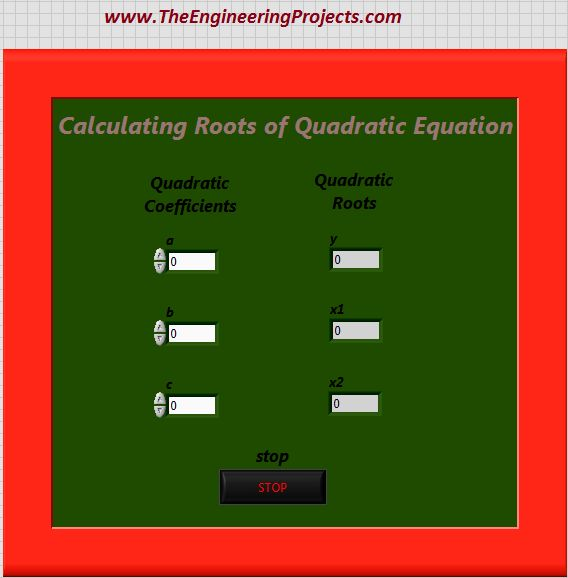 Quadratic Roots Calculation, Calculating quadratic roots using LabVIEW, Finding quadratic roots in LabVIEW, How to find quadratic roots in LabVIEW, How to find roots of quadratic equation using LabVIEW, Use LabVIEW to find roots of quadratic equation