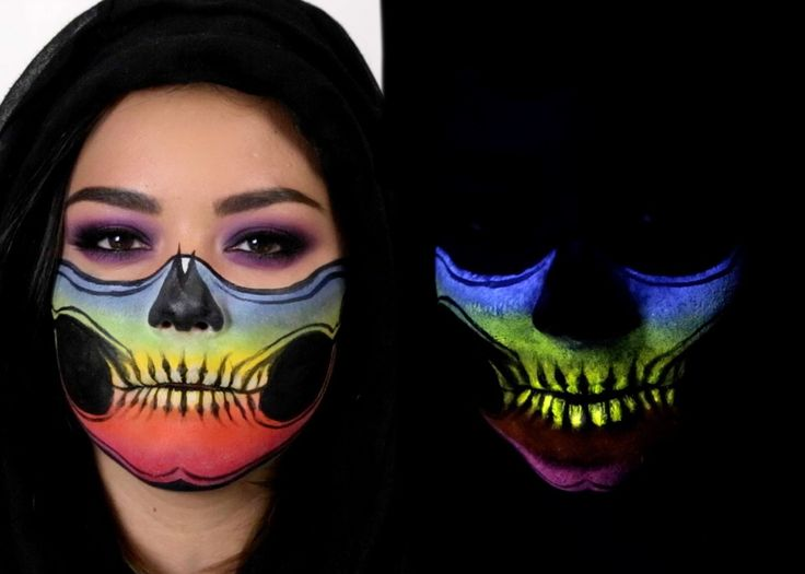 Skeleton Face Mask - Glow In The Dark - Halloween Makeup