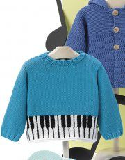 Tijdschrift Baby 80 Lente / Zomer   47: Baby Trui   Turquoise / Wit / Zwart