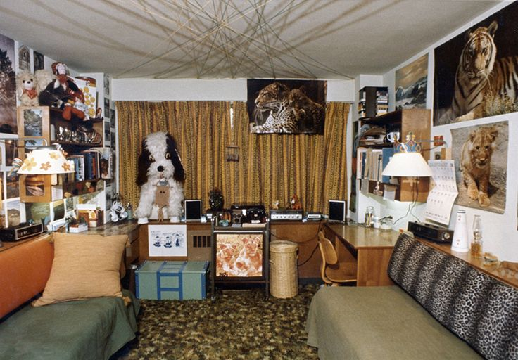 """Vintage Dorm Decor: File under """"Power Clashing!"""" What animal-lover wouldn't adore this surprise-packed 70s pad?  Image via UW Madison Archives"""