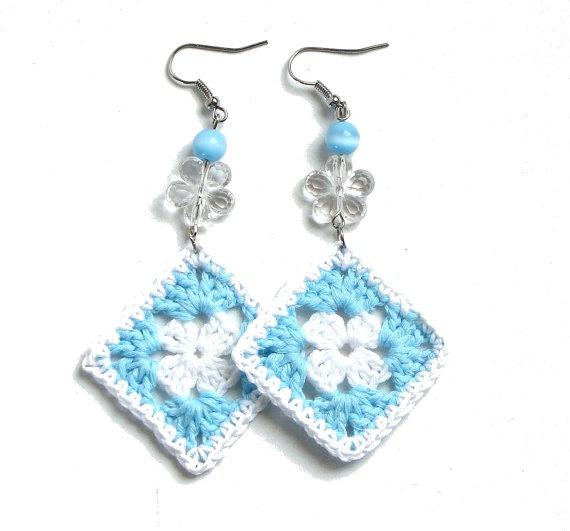 Aqua blue and white crochet square earrings  crochet by zolayka