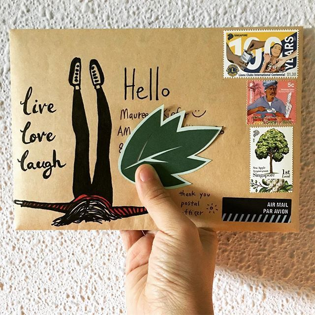 Weekend vibes: lie on your back, put your legs up in the air, and breathe... relax~! 🔹live 🔹love 🔹laugh 🔹 . . #livelovelaugh #weekendvibes #putyourlegsupintheair #friendsacrosstheworld #penpals #happymail #snailmail #snailmailrevolution #letter #letterart #paperart #vintageemail #postal #stamp #outgoingmail #handwrittenwordsarethebest #handwritten