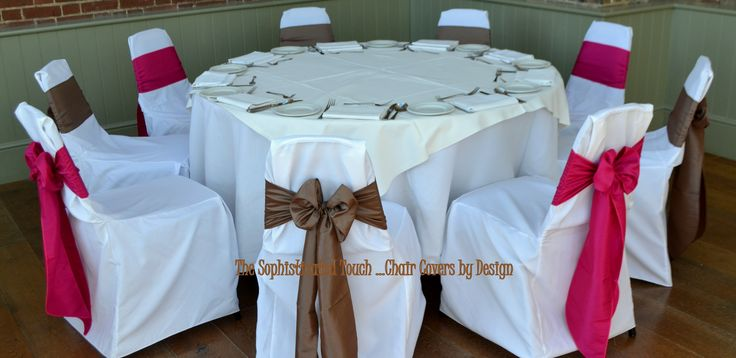 Alternating Fuschia and Mocha Satin Bows on White Chair Covers.  The Sophisticated Touch ...Chair Covers by Design