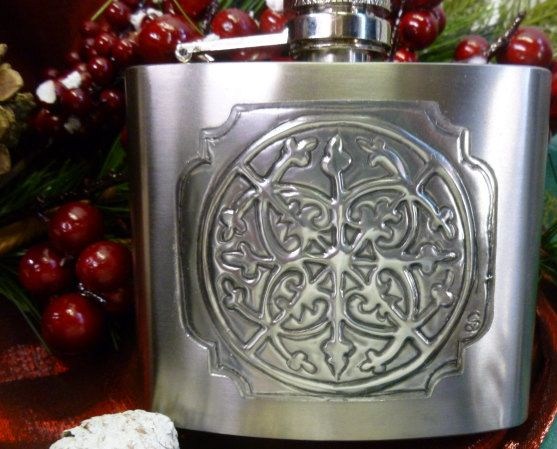 Hip Flask with Hand Crafted Pewter Detail by PewterConcepts on Etsy