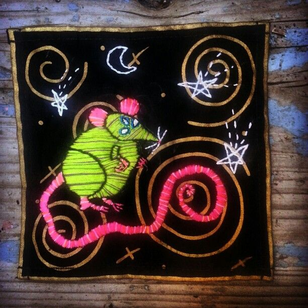 Embroidered cosmic rat patch by pickles lavey