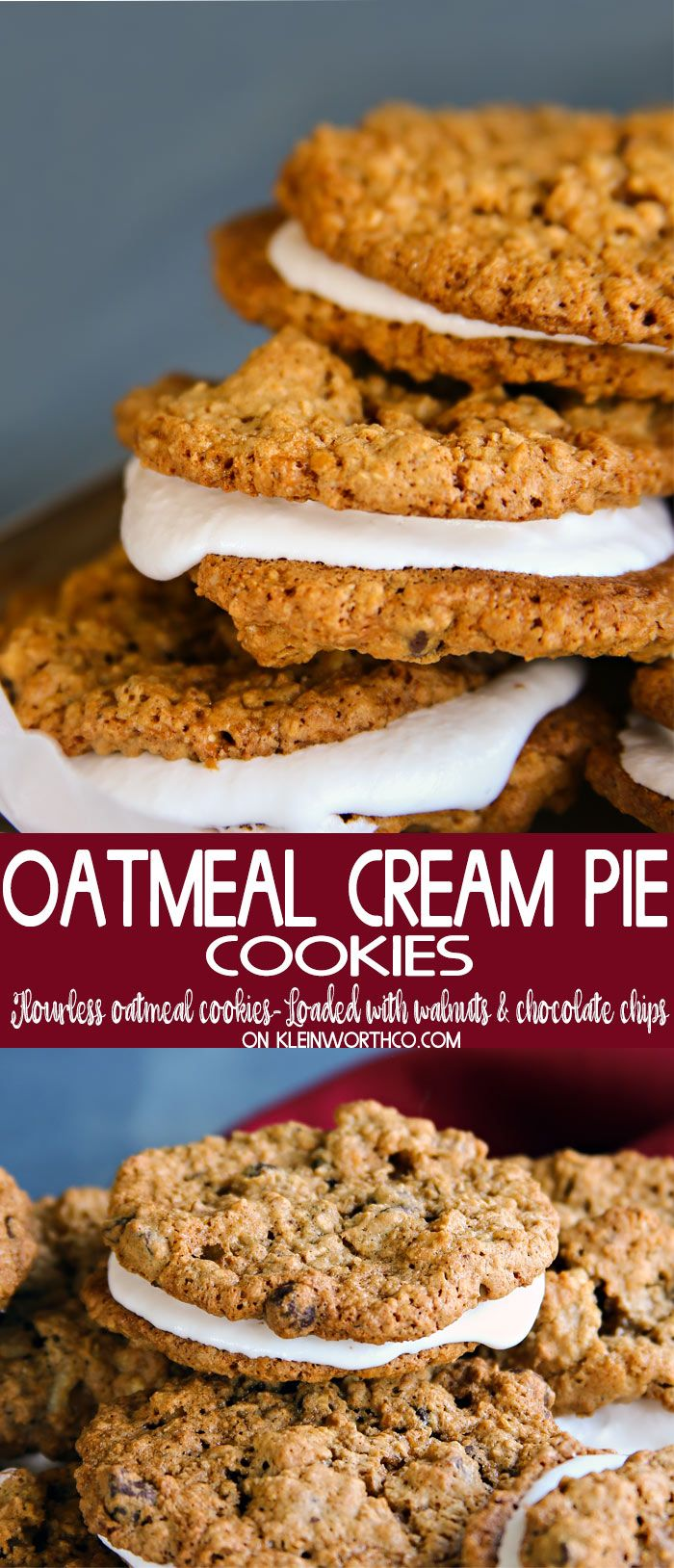 Oatmeal Cream Pie Cookies made with peanut butter, flourless oatmeal cookies, packed full of walnuts & chocolate chips & filled with marshmallow cream. YUM! via @KleinworthCo