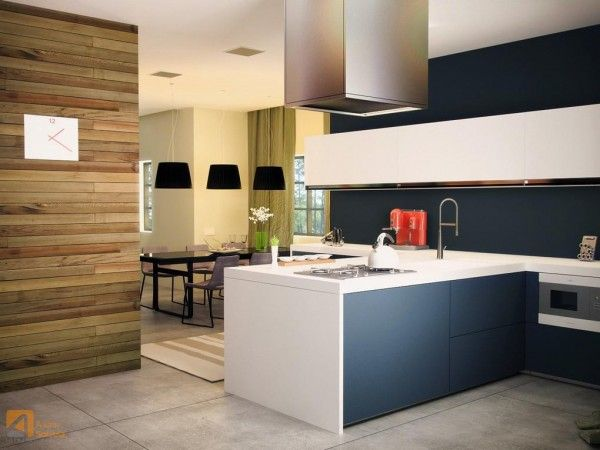 STRIPES, Kitchen, cabinets, contrasting with wooden wall. Love the simplicity yet joyful!!!