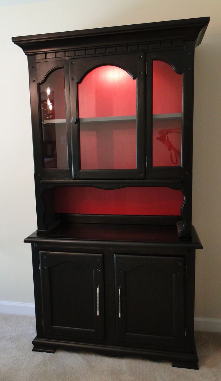 359 best hutches and china cabinets images on pinterest kitchen refinished black red hutch what s next furniture
