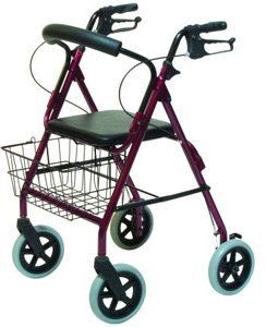 """Walkabout ConTour Deluxe Burgundy by Lumex. $166.89. Walkabout ConTour Deluxe Burgundy The Walkabout ConTour Deluxe offers the same benefits as the Walkabout Lite rollator, while featuring 8"""" wheels for outdoor use. It folds quickly and easily into a compact unit for storage and transport, and comes complete with ergonomic hand grips, easy-to-operate hand brakes, and a contoured, padded backrest.• Epoxy coated aluminum frame.• Locking loop brakes.• Removable w..."""