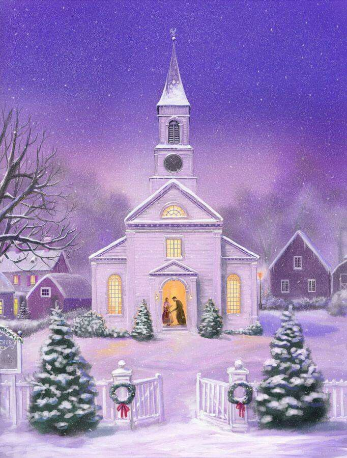 snowy church and xmas - photo #28