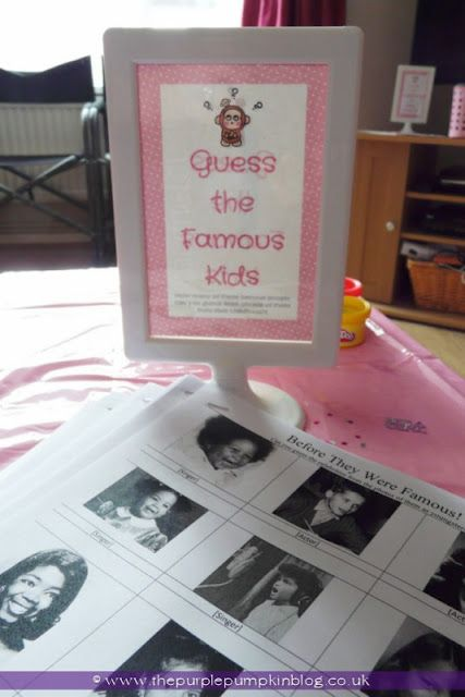 ~Guess The Famous Kids Game for a Baby Shower at The Purple Pumpkin Blog~
