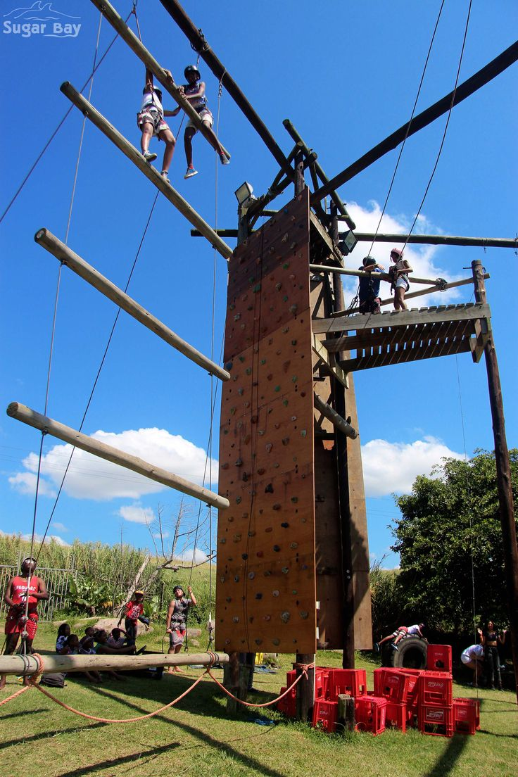 Campers helping each other on the Jacob's ladder.