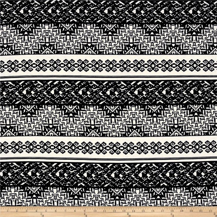 Rihan Jersey Knit Tribal Chevron/Damask Black/White from @fabricdotcom  This versatile lightweight jersey knit fabric features a lovely drape and a lightly brushed hand. With 50% stretch on the grain, this knit is perfect for drapey t-shirts, lined knit skirts and dresses, and more! Colors include black and white.
