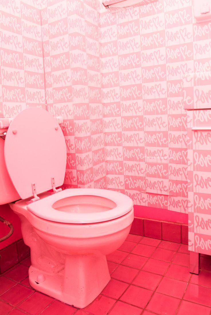 Pink bathroom with pink loo at Pietro Nolita, New York