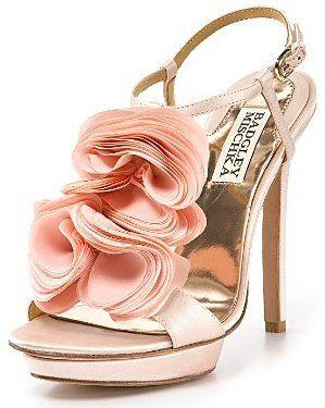 Badgley Mischka Ruffle T Strap High Heels- Blush Pink: Flowers Sandals, Blushes Pink, Wedding Shoes, Ruffles Flowers, Heels Ruffles, Pink Shoes, High Heels, Badgley Mischka, Badgleymischka