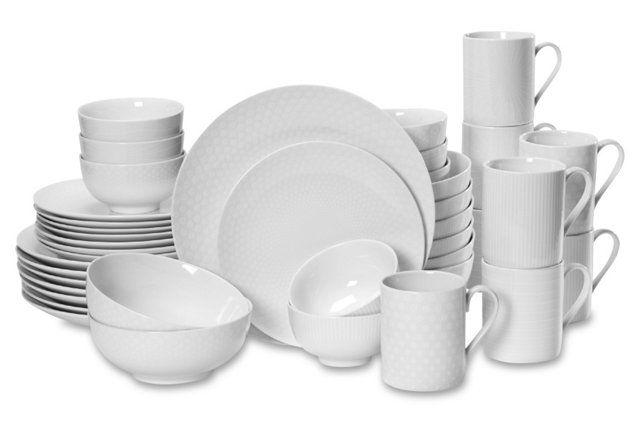 40-Pc Mikasa Cheers Dinner Set, White