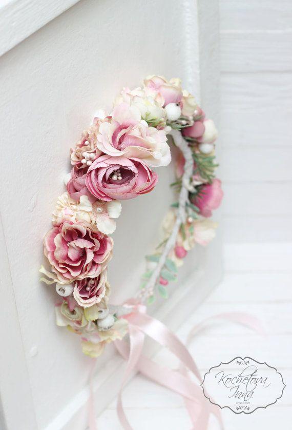 Bridal floral crown  Flower headband Bridal by ByKochetova on Etsy