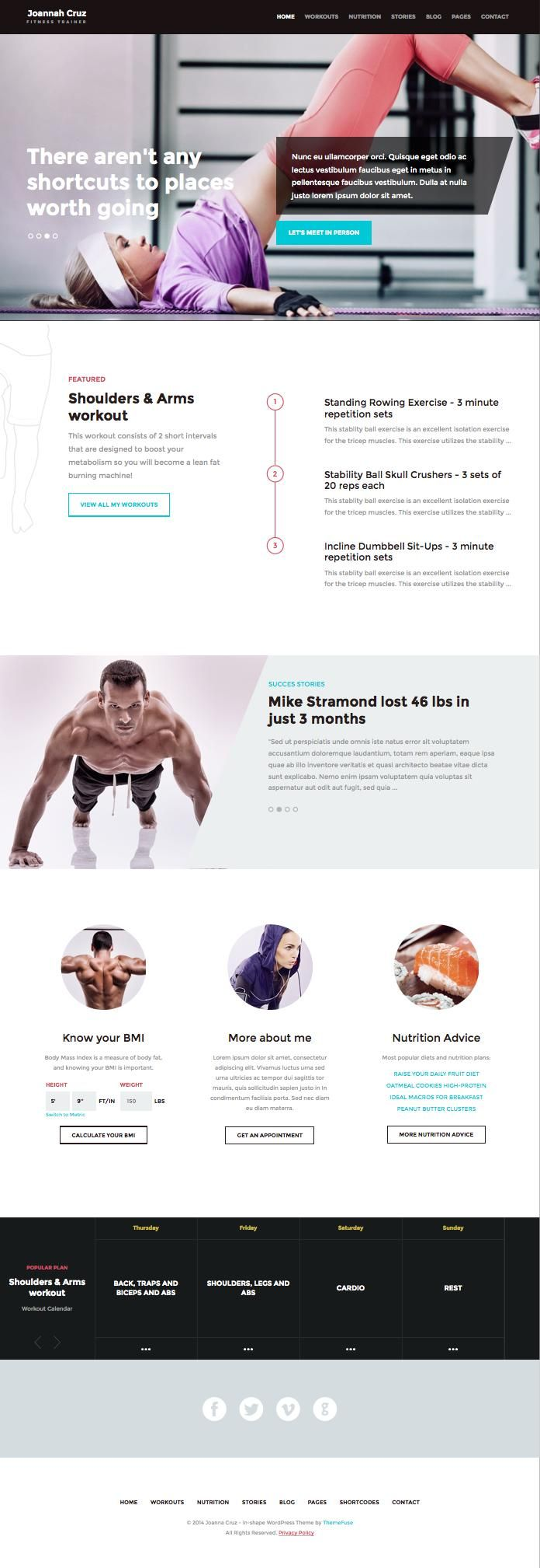 In Shape WordPress Fitness Personal Trainer Theme