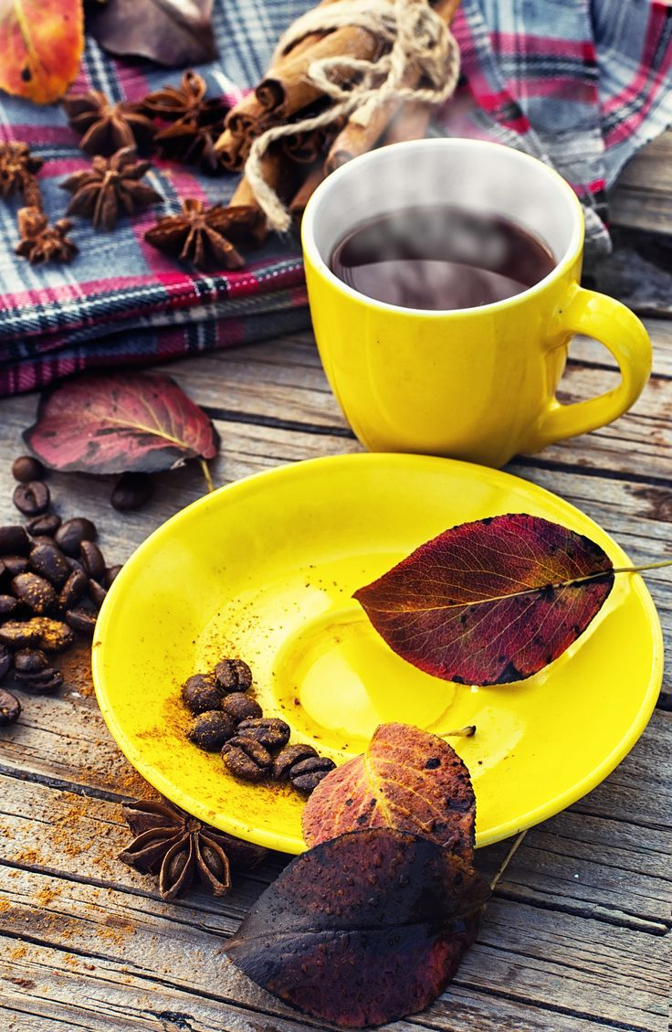 Yellow cup of black coffee on background with warm blanket strewn with autumn leaves
