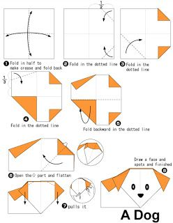 Easy Origami for kids - Dog
