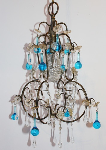 Italian Vintage Aqua Blue Drops Beaded Chandelier European Designer Lamps Sconce  $1,100
