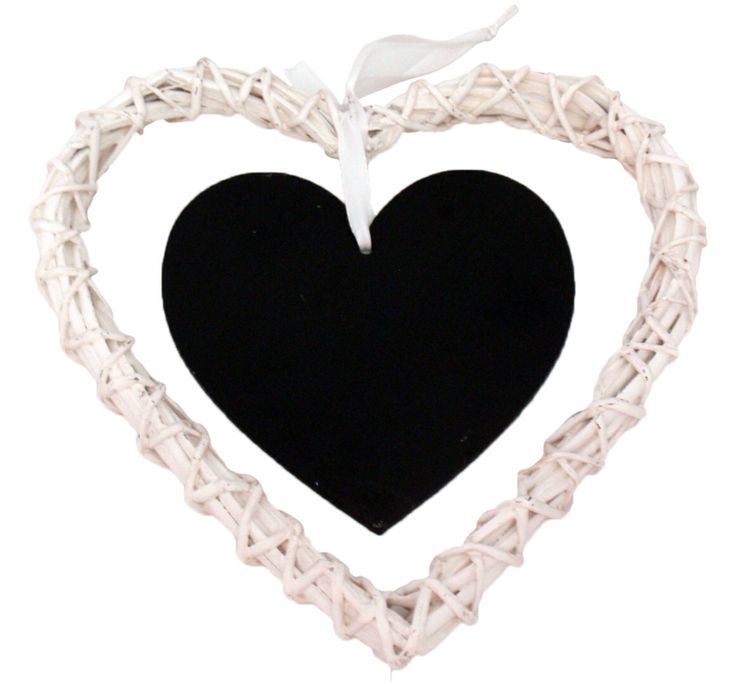 Small heart shaped white rattan and heart blackboard