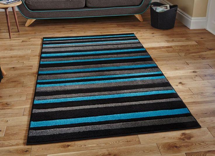 Modern geometric black blue stripe rug 160x220cm (7'4 x5'3 )