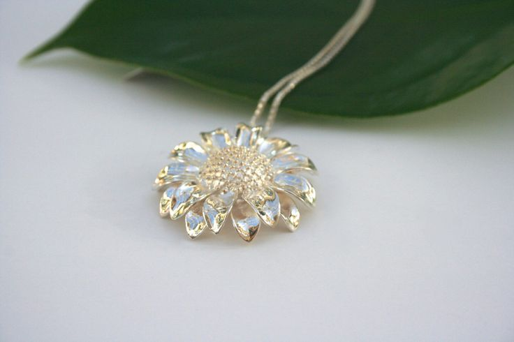 Sterling Silver Sunflower Necklace by 2BeadingHeartsJewels on Etsy https://www.etsy.com/listing/221471297/sterling-silver-sunflower-necklace