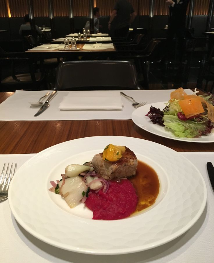 Pork Tenderloin with beetroot and ginger, Cathay Pacific First Class Lounge, Hong Kong