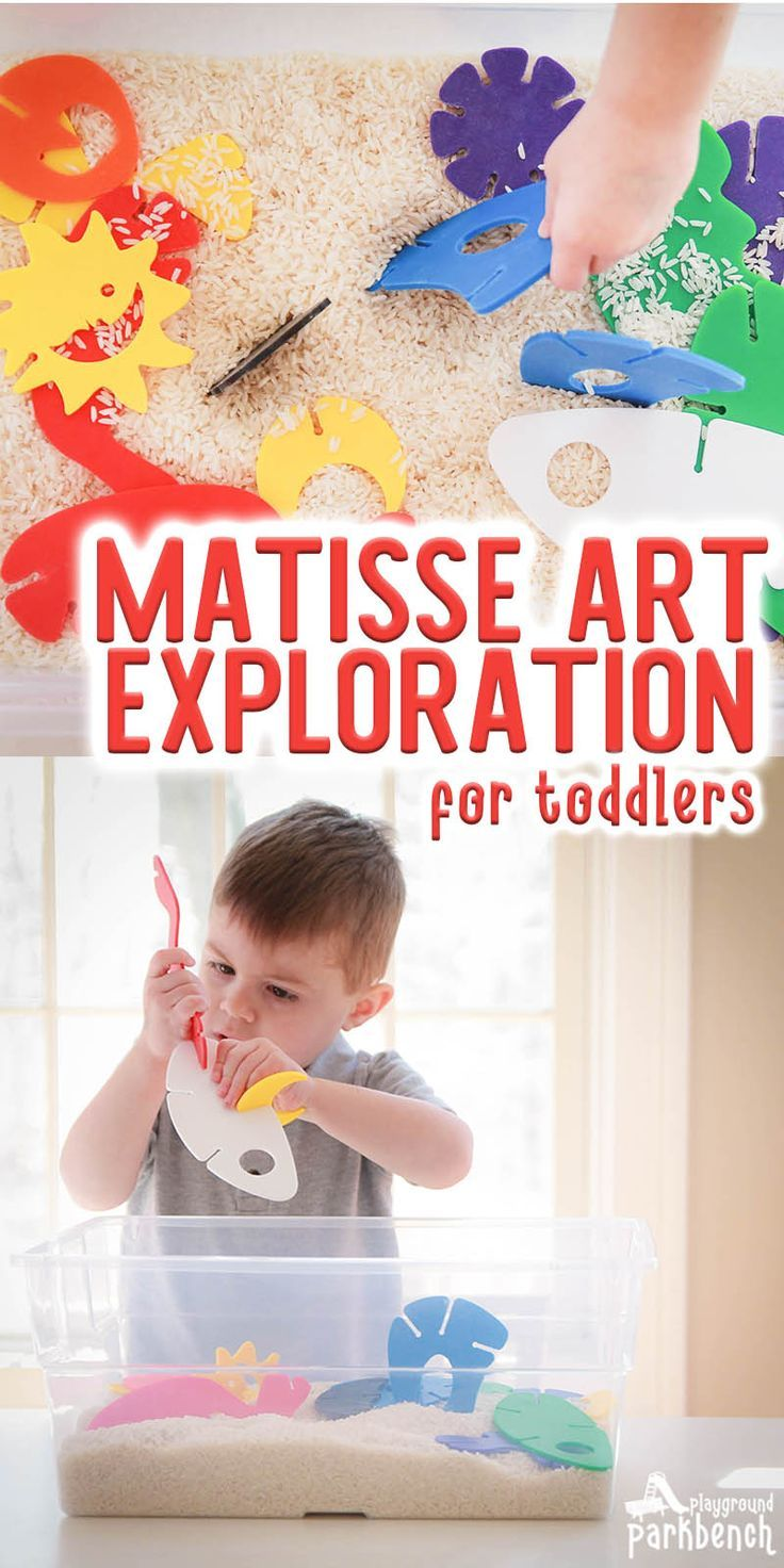 Introduce your child to the great artist, Henri Matisse, with a simple sensory bin. They can freely explore and learn through play about color, abstract shapes, sculpture and more. Perfect toddler activity and a great art center for preschool! #artforkids #toddleractivity #sensorybin via @playgroundpb