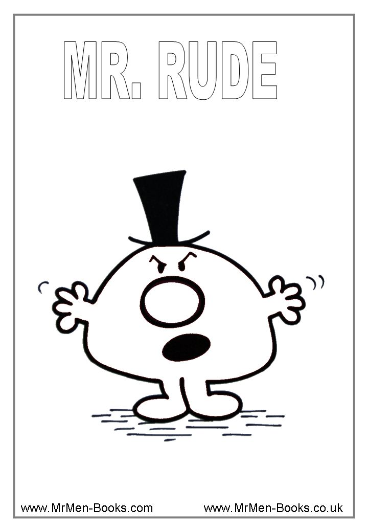 Mr Men Colouring Pages-Mr. Rude