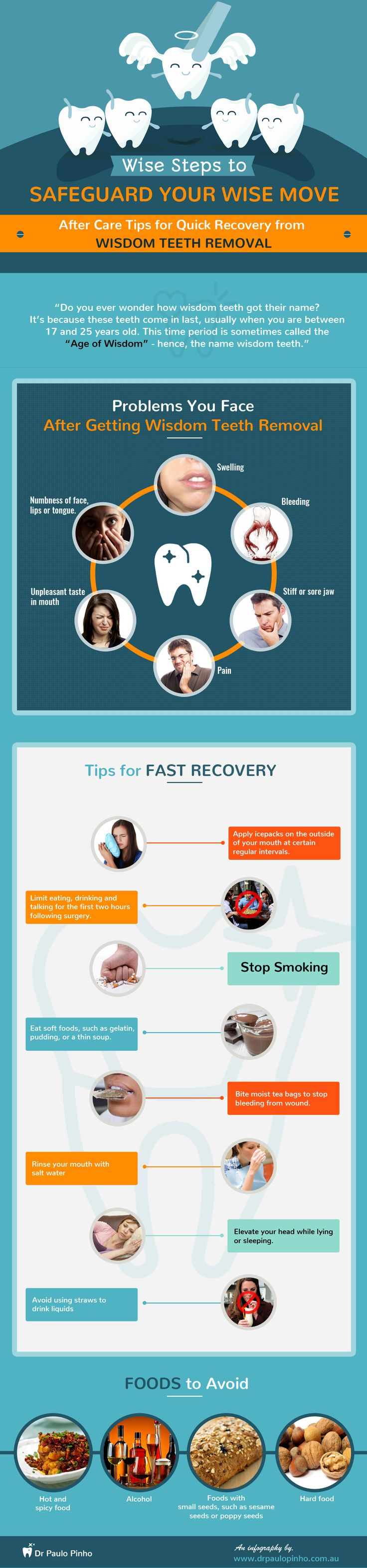 Aftercare Tips for Quick Recovery from Wisdom Teeth Removal  -  This infography brought to you by Dr Paulo Pinho provides post care tips to be followed for a speedy recovery from wisdom teeth removal procedure. Visit http://www.drpaulopinho.com.au/ for more information.