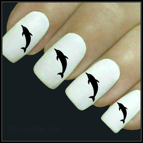 Animal Nail Decal Dolphin Nail Art 20 Water Slide by DecalGirlUSA