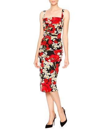 Poppy & Daisy Folded-Pleat Sheath Dress, Red/Black/White by Dolce & Gabbana at Neiman Marcus.