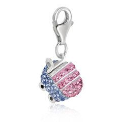 Sterling Silver Baby Carriage Charm Embellished with Colored Crystal Accents