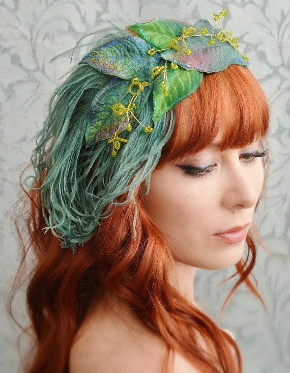 La Boheme  teal leaf an ostrich feather by gardensofwhimsy on Etsy