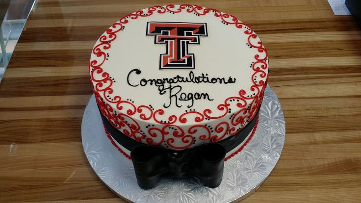 Texas Tech Graduation Cake with scrolls and bow