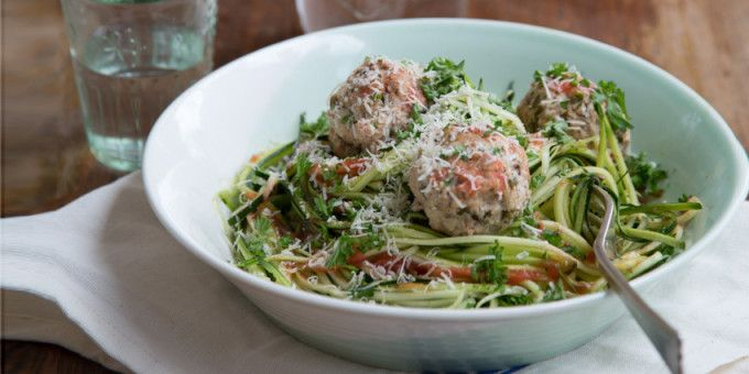 I Quit Sugar - Sweet Pork meatballs with zucchini noodles