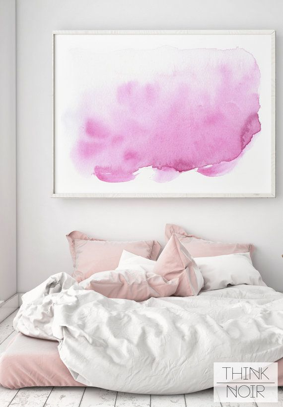 Pink Watercolor Wall Art / Modern Wall Poster / by ThinkNoir